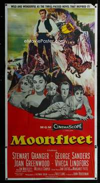 p435 MOONFLEET three-sheet movie poster '55 Fritz Lang, Stewart Granger