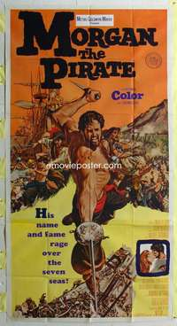 p436 MORGAN THE PIRATE int'l three-sheet movie poster '61 raging Steve Reeves!