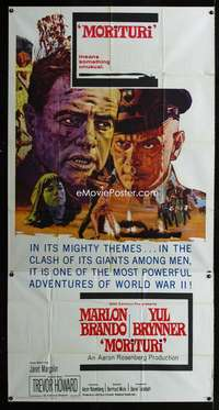 p437 MORITURI three-sheet movie poster '65 Marlon Brando, Yul Brynner