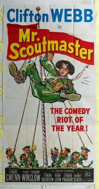 p438 MR SCOUTMASTER three-sheet movie poster '53 Clifton Webb, Boy Scouts!