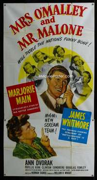 p439 MRS O'MALLEY & MR MALONE three-sheet movie poster '51 Marjorie Main