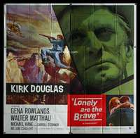 p056 LONELY ARE THE BRAVE six-sheet movie poster '62 Kirk Douglas classic!