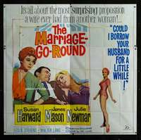 p063 MARRIAGE-GO-ROUND six-sheet movie poster '60 Susan Hayward, Newmar