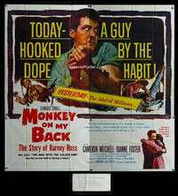 p066 MONKEY ON MY BACK six-sheet movie poster '57 Mitchell, drug classic!