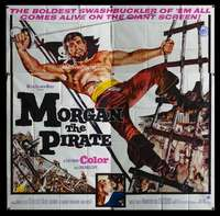 p068 MORGAN THE PIRATE int'l six-sheet movie poster '61 giant Steve Reeves!