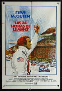 p743 LE MANS Argentinean movie poster '71 Steve McQueen, car racing!