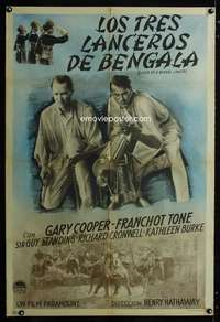 p746 LIVES OF A BENGAL LANCER Argentinean movie poster '35 Gary Cooper