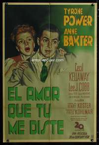 p750 LUCK OF THE IRISH Argentinean movie poster '48 Tyrone Power