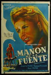 p754 MANON DES SOURCES Argentinean movie poster '53 Marcel Pagnol