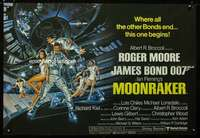 p157 MOONRAKER British quad movie poster '79 Moore as James Bond!