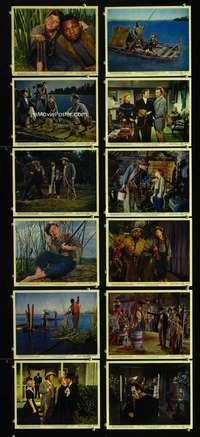 s410 ADVENTURES OF HUCKLEBERRY FINN 12 8x10 mini movie lobby cards '60 Mark Twain