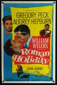 w001 ROMAN HOLIDAY one-sheet movie poster '53 Audrey Hepburn, Greg Peck