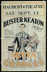 z301 SEVEN CHANCES window card movie poster '25 great art of Buster Keaton!