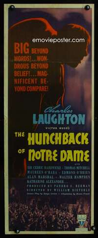 b349 HUNCHBACK OF NOTRE DAME ('39) insert movie poster '39 best Laughton!