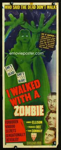 b356 I WALKED WITH A ZOMBIE insert movie poster '43 Val Lewton horror!