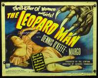 c258 LEOPARD MAN style B half-sheet movie poster '43 Tourneur, Val Lewton