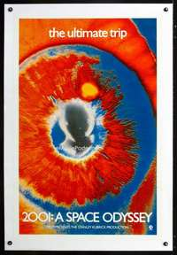 d001 2001 A SPACE ODYSSEY teaser 1sh 1970 most rare & desireable EYE poster, the ultimate trip!