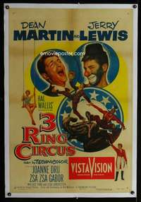 d070 3 RING CIRCUS linen one-sheet movie poster '54 Martin & Jerry Lewis!