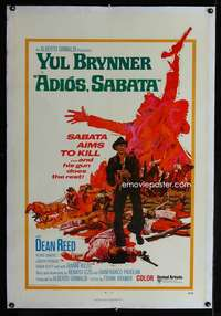 d072 ADIOS SABATA linen one-sheet movie poster '71 Yul Brynner aims to kill!