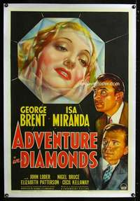d073 ADVENTURE IN DIAMONDS linen one-sheet movie poster '40 George Brent