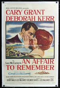 d077 AFFAIR TO REMEMBER linen one-sheet movie poster '57 Cary Grant, Kerr
