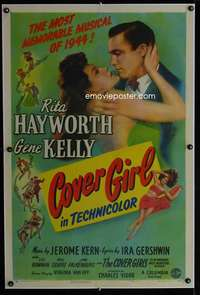 d025 COVER GIRL linen style B one-sheet movie poster '44 Hayworth, Kelly
