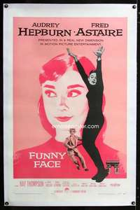 d006 FUNNY FACE linen one-sheet movie poster '57 Audrey Hepburn, Astaire