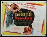 d023 DOWN TO EARTH style B half-sheet movie poster '46 sexy Rita Hayworth