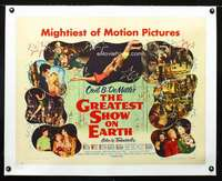 d055 GREATEST SHOW ON EARTH linen style B half-sheet movie poster '52
