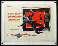 d017 NORTH BY NORTHWEST linen half-sheet movie poster '59 Grant, Hitchcock