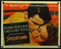 d016 SPELLBOUND half-sheet movie poster '45 Hitchcock, Bergman, Peck