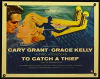 d015 TO CATCH A THIEF half-sheet movie poster '55 Kelly, Grant, Hitchcock