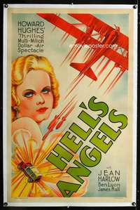d245 HELL'S ANGELS linen one-sheet movie poster '30s Howard Hughes, Harlow