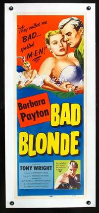 d033 BAD BLONDE linen insert movie poster '53 they called her BAD!
