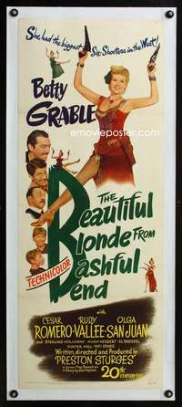 d034 BEAUTIFUL BLONDE FROM BASHFUL BEND linen insert movie poster '49