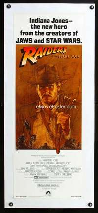 d042 RAIDERS OF THE LOST ARK linen insert movie poster '81 Amsel art!