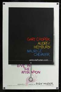 d008 LOVE IN THE AFTERNOON linen one-sheet movie poster '57 Saul Bass art!