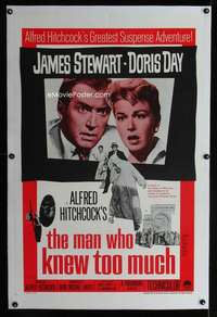 d013 MAN WHO KNEW TOO MUCH linen one-sheet movie poster R60s Hitchcock