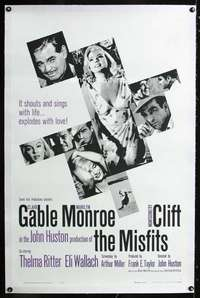 d030a MISFITS linen one-sheet movie poster '61 Gable, Marilyn Monroe, Clift