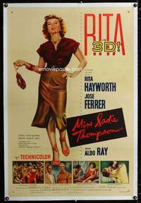 d027 MISS SADIE THOMPSON linen one-sheet movie poster '53 Rita Hayworth in 3D