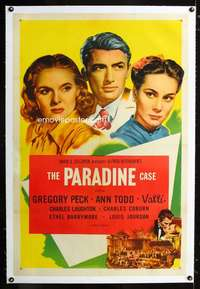 d012 PARADINE CASE linen one-sheet movie poster R56 Hitchcock, Peck, Todd