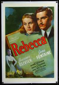d010 REBECCA linen one-sheet movie poster '40 Hitchcock, Olivier, Fontaine