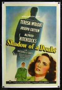 d011 SHADOW OF A DOUBT linen style C one-sheet movie poster '43 Hitchcock
