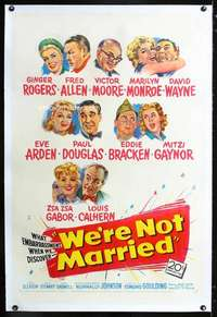 d031 WE'RE NOT MARRIED linen one-sheet movie poster '52 young Marilyn Monroe!
