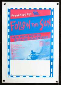 e108 FOLLOW THE SUN linen Australian 20x30 movie poster 80s surfing