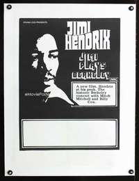 e111 JIMI PLAYS BERKELEY linen Australian 18x24 movie poster 73 Hendrix
