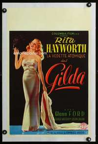e350 GILDA linen Belgian movie poster '46 sexy smoking Rita Hayworth!