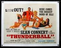 e103 THUNDERBALL linen British quad movie poster '65 Connery as Bond!