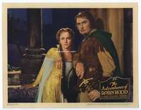 e008 ADVENTURES OF ROBIN HOOD movie lobby card '38 Flynn, De Havilland