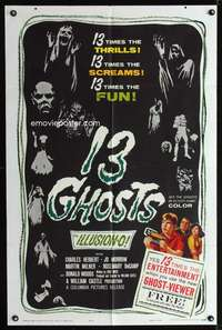 k001 13 GHOSTS black style 1sh '60 William Castle, great art of all the spooks, ILLUSION-O!